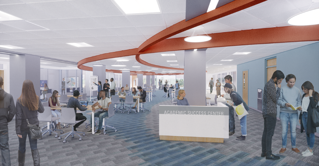 Artist rendering of the Academic Success Center where students are working with tutors.
